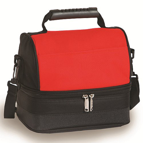 Pack of 2 Classic Fully Insulated Lunch Tote Bags - Red and Black - IMAGE 1