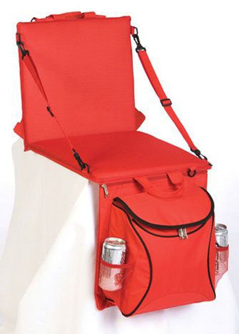 2-in-1 Stadium Seat & Cooler Converts from Backpack to Seat - Red - IMAGE 1