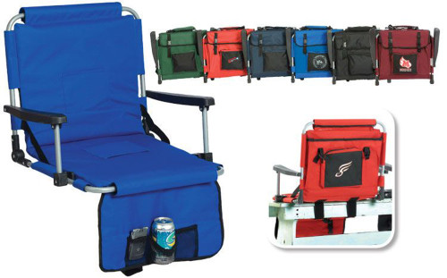 Portable Stadium Seat With Arm Rests & Pockets - Maroon - IMAGE 1