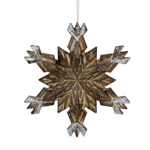 """5"""" Brown Wooden Styled Snowflake With Glitter Christmas Ornament - IMAGE 1"""