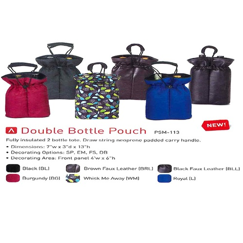 "13"" Black Stylish Wine and Beverage Insulated Double Bottle Carrier Pouch Bag - IMAGE 1"