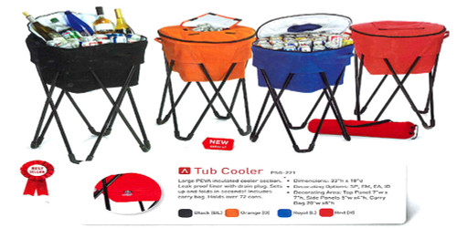 Portable Fold-Up Standing Cooler For Picnics & Tailgating Holds 72 Cans - Orange - IMAGE 1