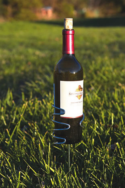Pack of 4 Stainless Steel Wire Outdoor Wine Bottle Holders - Stake into Ground - IMAGE 1