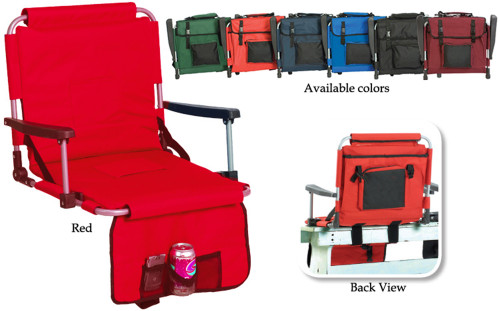 """20"""" Portable Stadium Seat With Arm Rests & Pockets - Red - IMAGE 1"""