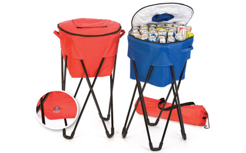 Portable Fold-Up Standing Cooler For Picnics and Tailgating Holds 72 Cans - Red - IMAGE 1