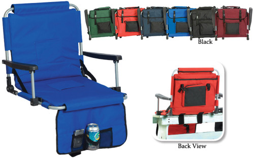 Portable Stadium Seat with Arm Rests and Pockets - Black - IMAGE 1