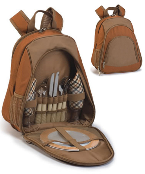 13-Piece On-The-Go Zippered Compact Backpack Picnic Set for 2 - Brown - IMAGE 1