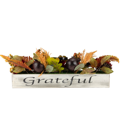 """24"""" Autumn Harvest Pomegranate 3-Piece Candle Holder in a """"Grateful"""" Rustic Wooden Box Centerpiece - IMAGE 1"""