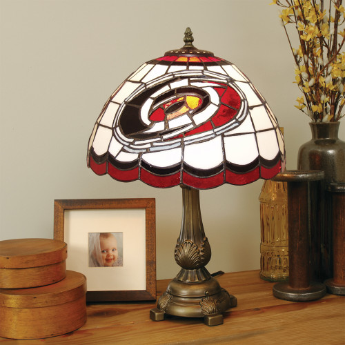 "19.5"" Black and Red NHL Carolina Hurricanes Jackets Tiffany Table Lamp - IMAGE 1"