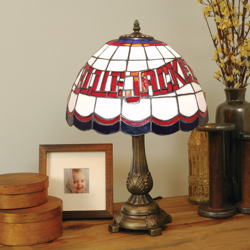 "19.5"" Blue and Red NHL Columbus Blue Jackets Tiffany Table Lamp - IMAGE 1"