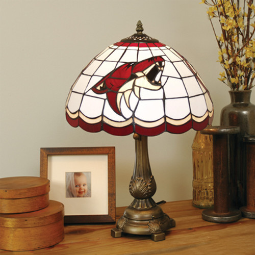 """19.5"""" Red and White NHL Phoenix Coyotes Tiffany Table Lamp - IMAGE 1"""