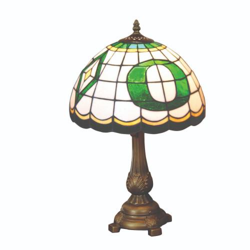 "19.5"" White and Green NCAA Oregon Ducks Tiffany Table Lamp - IMAGE 1"
