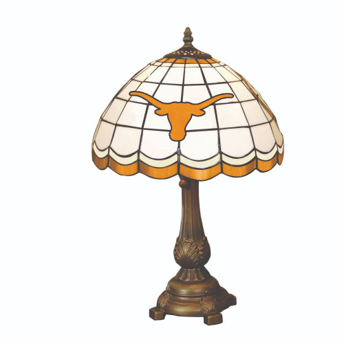 """19.5"""" White and Brown NCAA Texas Longhorns Tiffany Table Lamp - IMAGE 1"""