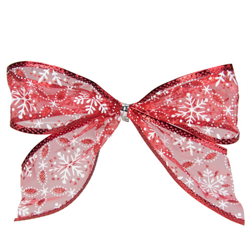 """Pack of 6 Sheer Red and White Snowflakes Christmas Bow Decorations 5"""" - IMAGE 1"""