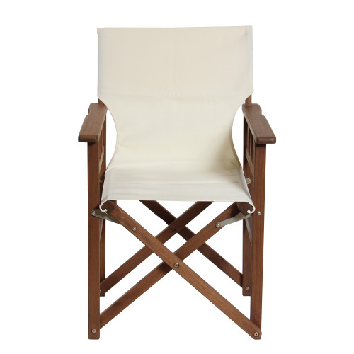 """36"""" White Foldable Patio Chair With A Wooden Frame - IMAGE 1"""