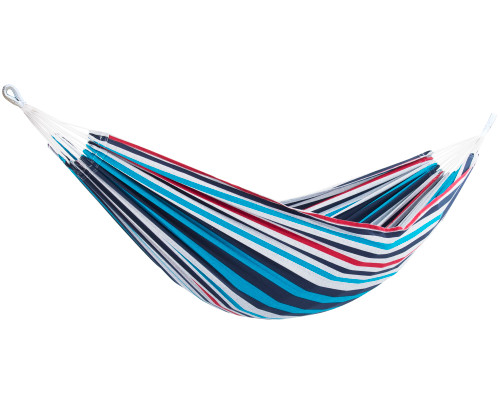"""144"""" Black and Blue Striped Two Person Brazilian Style Hammock - IMAGE 1"""