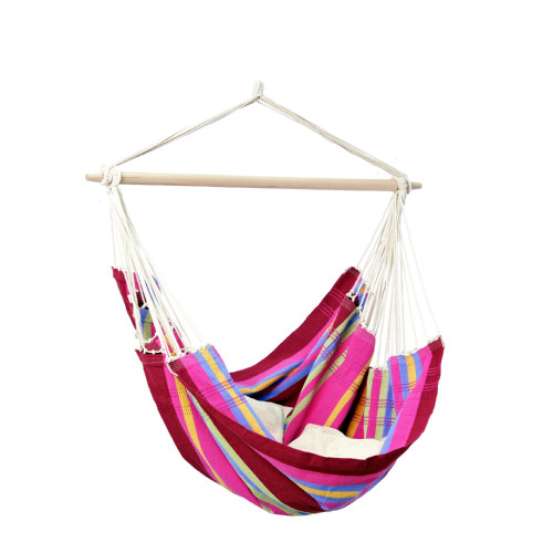 """42 x 68"""" Red, Pink and Yellow Brazilian-Style Cotton Hammock Chair - IMAGE 1"""