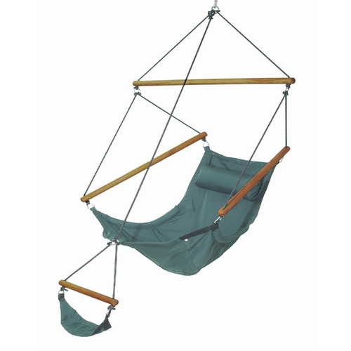 "29 x 78"" Forest Green Swinging Hammock Chair with Attached Footrest - IMAGE 1"