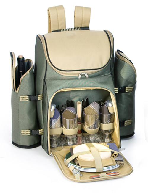 31-Piece Backpack Picnic Set for 4 with Dual Detachable Wine Carriers - Sage - IMAGE 1