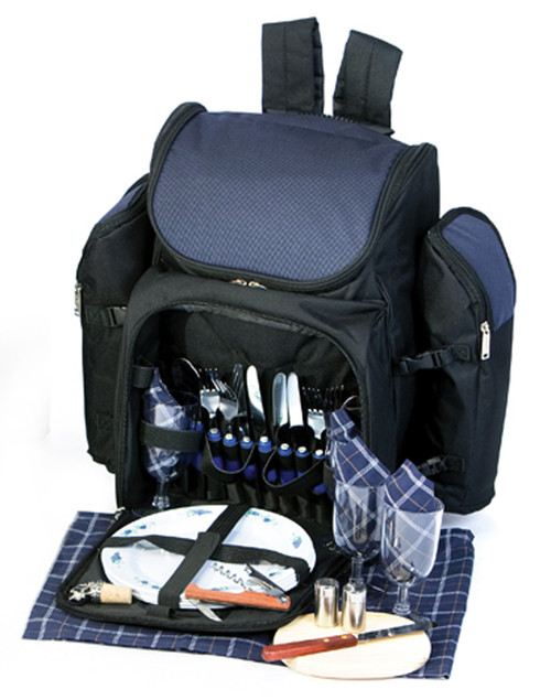 31-Piece Backpack Picnic Set for 4 with Dual Detachable Wine Carriers - NAVY - IMAGE 1