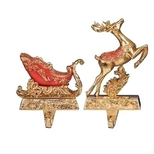 """Set of 2 Red Gold Deer and Sleigh Christmas Stocking Holder 6"""" - IMAGE 1"""