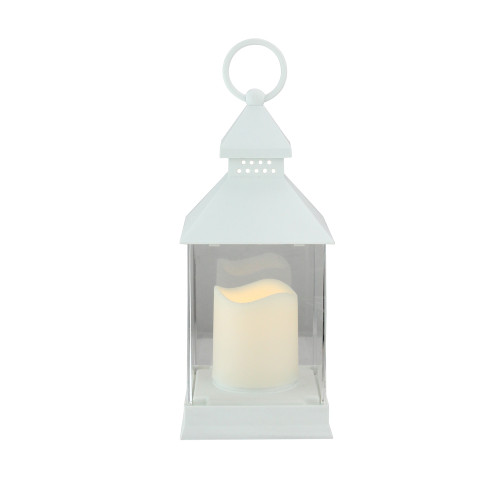 """9.5"""" White Candle Lantern with Flameless LED Candle Tabletop Decor - IMAGE 1"""