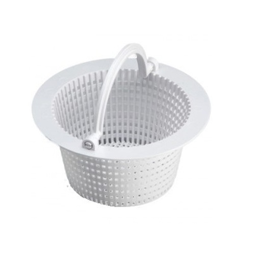 """6.25"""" Round White Swimming Pool Skimmer Basket with Handle - IMAGE 1"""