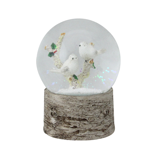 """6"""" Musical White Doves on a Branch Christmas Snow Globe - IMAGE 1"""