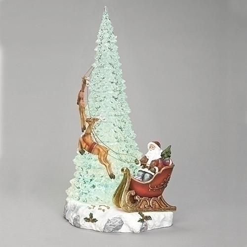 "17.5"" LED Musical Tree with Santa and Reindeer Figurine - IMAGE 1"