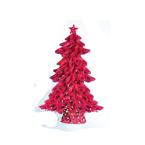 """20"""" Pre-Lit Lighted Looped Fuchsia Pink Glitter Christmas Tree - Clear Lights - IMAGE 1"""