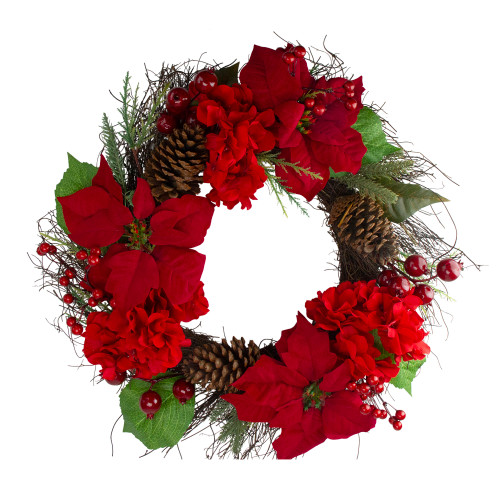 Red Poinsettia and Hydrangea Flowers with Berries Artificial Christmas Wreath - 24-Inch, Unlit - IMAGE 1