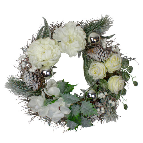White and Silver Floral Flocked Pine Artificial Grapevine Christmas Wreath - 24-Inch, Unlit - IMAGE 1