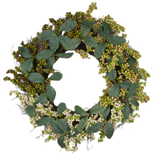 Berries and Leaves Twig Artificial Wreath, Green 24-Inch - IMAGE 1