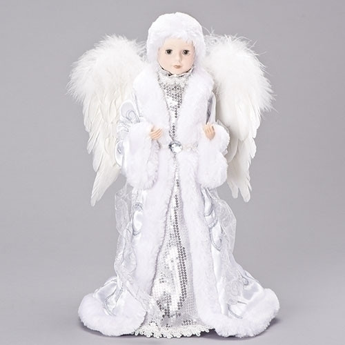 """17"""" White and Silver Sequin Angel Christmas Tree Topper - IMAGE 1"""