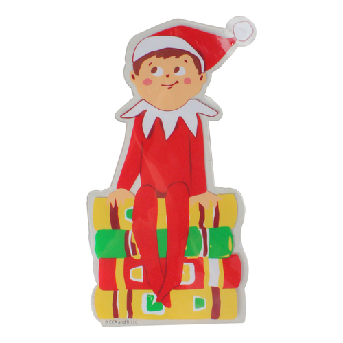 """8"""" The Elf on the Shelf with Books Jelz Christmas Window Cling - IMAGE 1"""