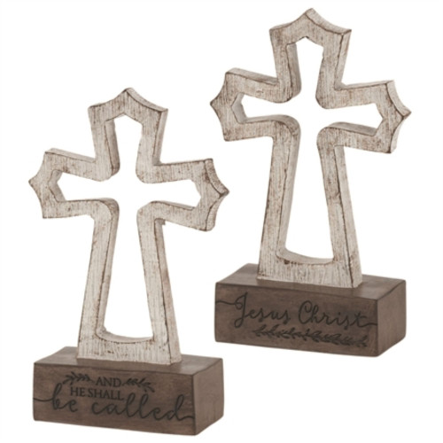"""6.25"""" White and Brown Double Side Printed Cross Shaped Tabletop Decor - IMAGE 1"""