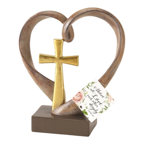 """6"""" Natural Brown and Gold Heart Shaped Cross Sculptured Tabletop Decor - IMAGE 1"""