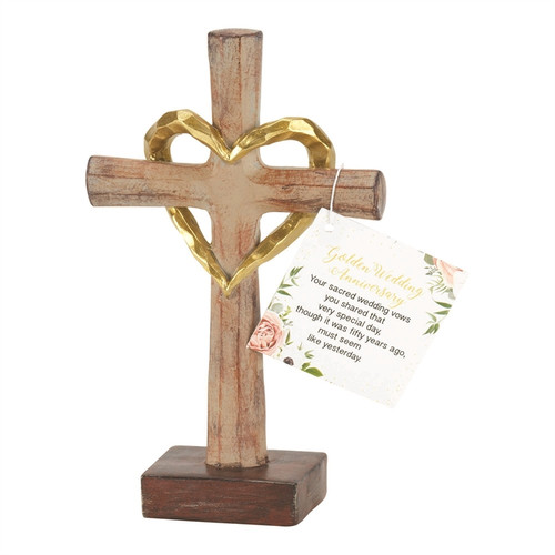 """6"""" Brown and Gold 50th Anniversary Cross with Hang Tag - IMAGE 1"""