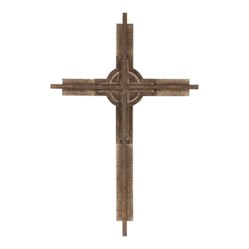 """16"""" Natural Brown Rustic Cross Shaped Religious Wall Decor - IMAGE 1"""