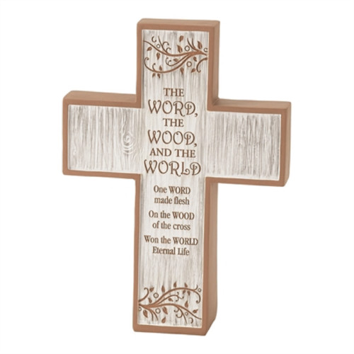 """7.25"""" Brown and White Cross Shaped Religious Tabletop Decor - IMAGE 1"""