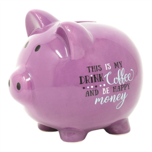 """5.75"""" Purple and Black Classic Style Quote Printed Piggy Bank - IMAGE 1"""