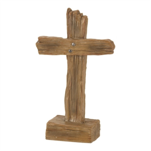 """4.75"""" Brown Solid Cross Shaped Tabletop Decor - IMAGE 1"""