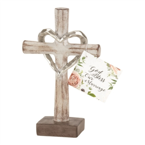 """6"""" White and Brown Solid Cross Shaped Tabletop Decor With Hangtag - IMAGE 1"""