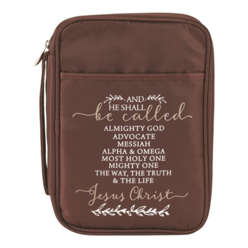 """10.25"""" Brown and White Holy Quote Printed Large Bible Cover - IMAGE 1"""