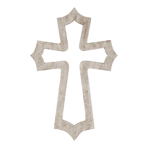 "15.75"" Gray and Natural Brown Cross Shaped Names of Jesus Wall Decor - IMAGE 1"