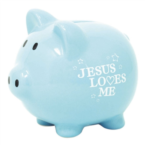 "5.75"" Blue and White Glossy Finish Quote Printed Piggy Bank - IMAGE 1"