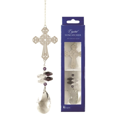 """10"""" Clear and Purple Cross Bead Crystal Suncatcher with Suction Cup - IMAGE 1"""