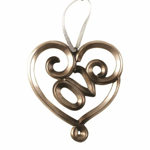 """4"""" Gold Love Shaped Wedding Day Ornament with White Gift Box - IMAGE 1"""