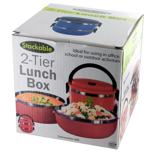 """Pack of 4 Red Stackable 2-Tier Lunch Box 5.75"""" - IMAGE 1"""