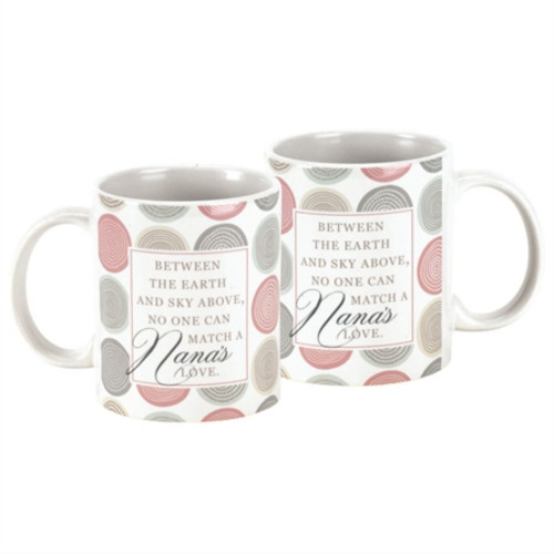 "Set of 2 Beige and White Contemporary Love Words Printed Mug 4.75"" - IMAGE 1"